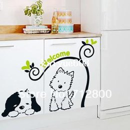 1 Piece High Quality 75*70cm Cartoon Cute Cat & Dog Wall Sticker & Kids Room Wall Decor & Welcome Words Decor for Living Room