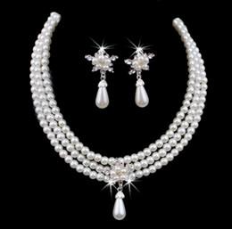 Mariage met en vente en Ligne-Accessoires de bijoux nuptiale de perle pas cher En vente sur la vente Collier et boucles d'oreilles ensemble pour mariées de mariage Livraison gratuite