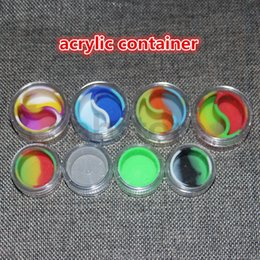 Wholesale ml acrylic wax containers silicone jar dab wax containers silicone dab jar glass oil containers glass bong