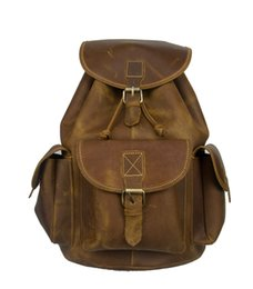 Vintage Genuine Cowhide Brown-yellow Handmade Full Leather Teen Casual Daily Sport Backpack Schoolbag Bookbag For Men #98608B