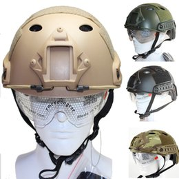 Wholesale For Airsoft Paintball Cheap level PJ Type Tactical Combat Fast Helmet W Goggles ARC Side Rails Vas Shroud NVG Mount