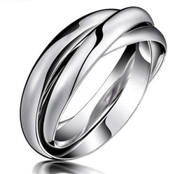 Fashion Womens Titanium Stainless Steel Dome Tri Roll Links Band Stacked Interlocked Polished Women Party Ring