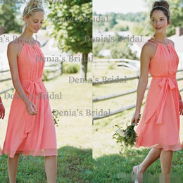 2016 New Arrival Coral A Line Halter Knee-length Chiffon Bridesmaid Dresses with Cascading Ruffles bridesmaid dresses dresses evening wear