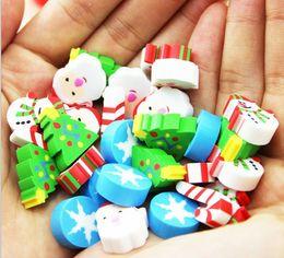 XMAS Christmas Erasers Eraser 35 Mix Mini ( gift box) pack Rubber Pencil Eraser Set Kid Children Fruit bird Santa Party Favor Kid Gift
