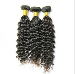Wholesale Curly Burgundy Hair Extensions - 50% off unprocessed virgin hair extensions 100%brazilian human hair deep wave natural color 3pcs lot DHL free shipping