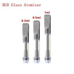 Wholesale Good Price Pyrex Glass BUD Tank CE3 Atomizer BUD Touch O pen CBD hemp vaporizer e cigarette vape mods e cig Oil Cartridge tank wax DHL Free