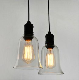 Modern Crystal Bell Glass Pendant Lights Industrial Style Pendant Lamp Edison bulbs Lighting Fixture Dining room lamps