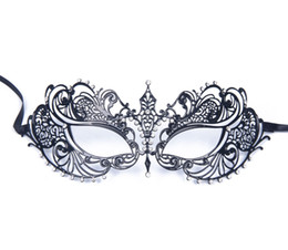 Luxury Women's Laser Cut Thin Metal Venetian Pretty Beauty Masquerade Bauta Mask Princess Prom Party Black With Clear Crystal Light Weight
