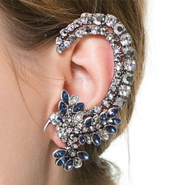 Wholesale European Fashion Personality Metal Full Crystal Eagle Earrings Clip Punk Jewelry Female Ear Cuff Earrings Hang