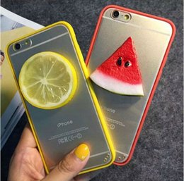 Wholesale Funny Summer D Fruit Watermelon Lemon Orange Food Design Soft TPU Crystal Clear PC Phone Cases For iPhone s plus