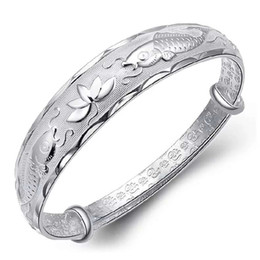 Top 925 sterling silver bracelet jewelry charm bracelets vintage bangle blessing double fish lotus flower carving