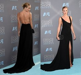 Wholesale Rosie Huntington Whiteley Black Evening Wear Dresses Split Critics Choice Awards in Santa Monica Backless V Neck Pageant Formal Gowns