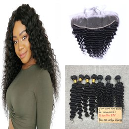 Brazilian Virgin Hair Deep Wave Weft 5 Bundles 50g pc With Ear To Ear 13*4 Lace Frontal Human Hair Extensions Weave Bundles