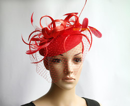 Red sinamay fascinator felt fascinator wedding race carnival fascinator with feathers and veiling for wedding,kentucky derby,ascot races.
