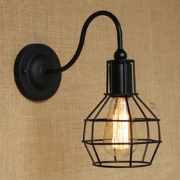 Retro Cute Black Small Cages Wrought Iron Lantern Wall Light Edison Bulb Fixtures Indoor Lighting Fast Delivery