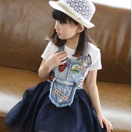 Wholesale 2015 summer new big in Girls Fight Cowboy Sprinting Gauze Suspenders Dress