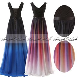 Wholesale 2016 New Arrival Two Tone Elie Saab Prom Dresses Flaw Elegant Chiffon V neck Lace up In Stock Gradient Ramp Party Dresses With Belt