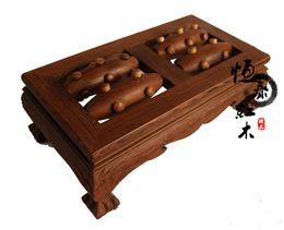 Wholesale Hengtai wenge wood mahogany wood rolling massage stool footstool