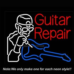 Wholesale Guitar Repair Neon Sign Neon Bulbs Recreation Room Glass Tube Gifts Real Glass Tube Handcraft Store Display x18