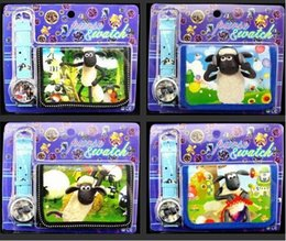 Free shipping wholesale 12set Shaun The Sheep Wristwatch watch and Purses Wallets Sets Children Gifts
