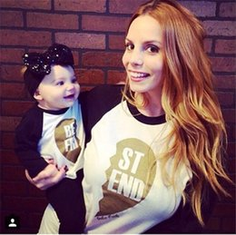 Wholesale-2015 Matching Family Clothing For Mom And Son Baby Girl Boy Long Sleeve Letter Print Fashion T Shirt Mother Daughter Outfits