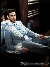 Wholesale 2015 Custom Made Groom Tuxedos Stand Collar Best Man Groomsman Men Wedding Suits Jacket Pants Shirt OK