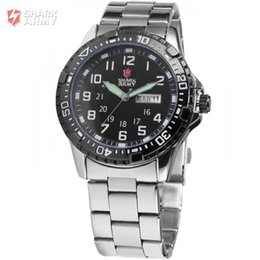 Wholesale atches Clocks Wristwatches SHARK ARMY Date Day Display Stainless Steel Black Men s Military Sport Analog Quartz Wristwatch Fashion Ca