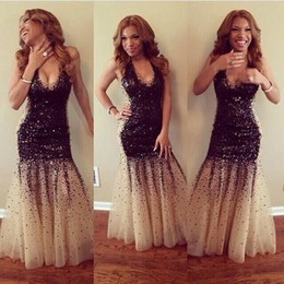 Stunning Black Bead Sequins Halter Mermaid Long Formal Evening Dresses Prom Wear No Sleeve Champagne Sexy Party Prom Dress Gowns Vestidos