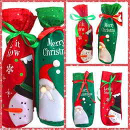 Wholesale Cheap Christmas Party Decorations - Top Sale Santa Snowman Wine Bottle Covers Bag Merry Christmas Table Decoration Festival Wine Bottle Cover Bags Gift Wrap Party Decor Cheap