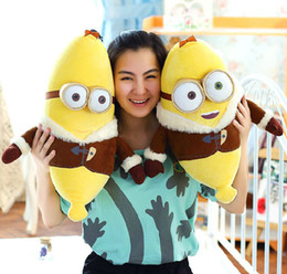Wholesale 2016 New COMING Despicable Me Doll quot CM Banana People Plush Toy D Eyes Brown Coat Minion kawaii kids toys lovely gift
