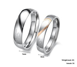 Fashion Jewelry 316L Stainless Steel Silver Half Heart Simple Circle Real Love Couple Ring Wedding Rings Engagement Rings GJ284