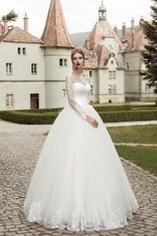 2015 Lace Wedding Dresses With Long Sleeves Lace Up Back Ball Gown Vintage WEdding Dress Floor Length