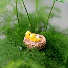 Artificial nest with birds animals ornaments miniatures for fairy garden gnome resin crafts bonsai bottle garden decoration