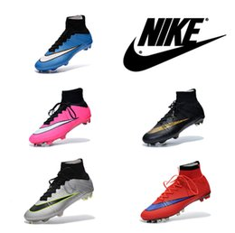 Wholesale Nike Mercurial Superfly FG Mens Soccer Boots High Cut with Sock nike soccer shoe clearance Boys soccer cleats