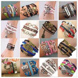 Hot sale Infinity Bracelets Charm Bracelets 16 styles fashion Leather Bracelets DIY Antique Cross Bracelets Multilayer Bracelets sl008