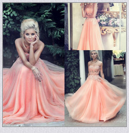 2017 Hot Sales Peach Prom Dresses Beaded Lace Appliques Polyester Boning A-Line Floor-length Chiffon Evening Gown Formal Dress Party Gowns