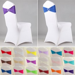 Stretch Chair Cover Bands Lycra Spandex With Buckle Replace Chair Sash Bow Wedding Party Decor New Gorra 100pcs lot