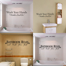 2 Style mixed bathroom rules home decor creative quote wall decal decorative home decoration removable vinyl wall sticker