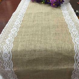 Promotion côté de l'artisanat Usine linge de jute côtés chemin de table en dentelle chaise brulée fil ruban artisanat directe de fête de Noël Décoration de mariage