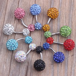 belly ring 30pcs lot mix 6 colors shamballa ball crystal piercing jewelry navel ring