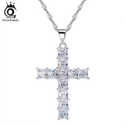 Luxury Cross Pendant Necklace made of 11 Pieces Princess Cut Cubic Zirconia Necklace Pendant for Ladies and Women ON100