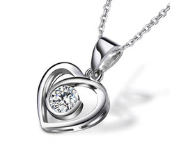 100% 925 sterling silver Shape Ct synthetic Diamond Pendant white gold plated Pt950 Necklace for wedding pendant for women