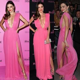 Womens Split Evening Dresses Sexy Deep V Neck High Split Carpet Party Dress Evening dress Floor Length Backless Chiffon Couture Prom dresses
