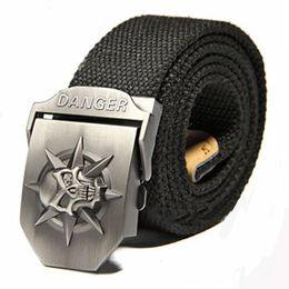 Black 2015 New Skull Men's 120CM Belts Hip-Hop Pop Canvas Belts For Men Outdoor Sports Jeans Weave Buckle Belt Automatically