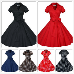 Audrey Hepburn Vintage Style Casual Dresses Modern Ruffles Women European Short Sleeve with Bow Ribbon Lapel Neck Skirts OXL127