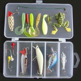 Wholesale Crank Lures Shrimp - New Arrival! 16Pcs Artificial Fishing Lure Set Hard Soft Bait Minnow Spoon Crank Shrimp Jig Hook with Fly Fishing Tackle Box