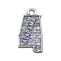 Wholesale New fashion sided antique silver plated Alabama map charms jewelry making DIY metal charms