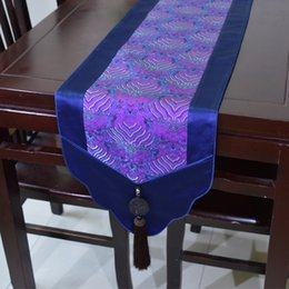 Latest Luxury Chinese style Patchwork Jade Table Runners Festive Dinner Party Decoration Real Silk Brocade High End Table Cloths
