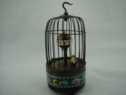Wholesale Works Chinese old Copper birdcage Carved Cloisonne Birds In Cage Clock Antique Style Clocks Free Shiping
