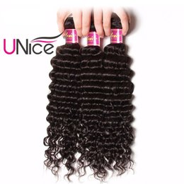 UNice Hair Peruvian Deep Wave Human Hair Bundles Unprocessed 1Piece 12-26inch Non Remy Hair Extension Natural Color